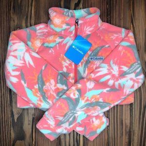 Columbia Pink Floral Fleece Girls Jacket Medium